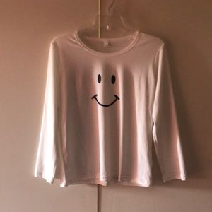 Women's happy face long sleeve T-shirt